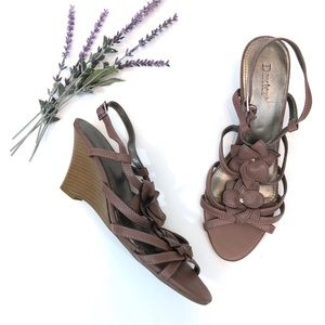 Dexter Purple Flower Wedge Sandal